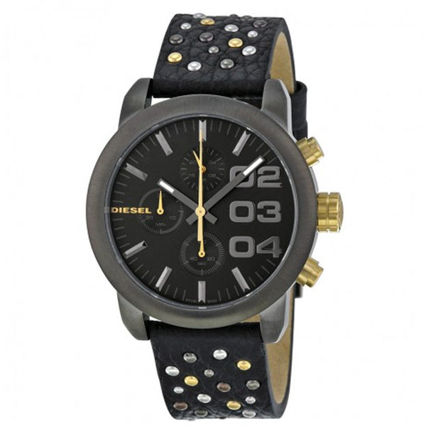 DIESEL Flare Chronograpg Grey Dial Black Leather Unisex Watch DZ5432