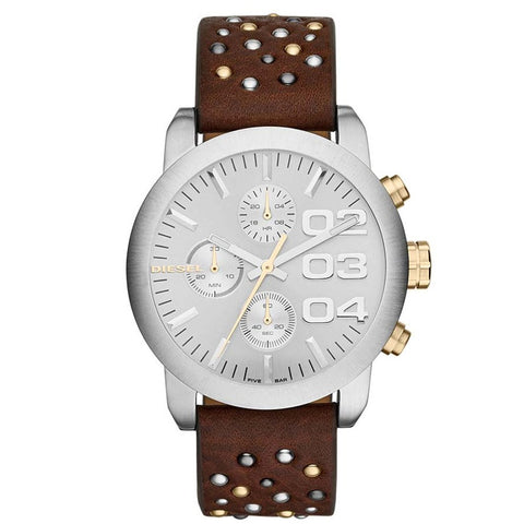 Diesel Flare Chronograph Silver Dial Brown Leather Unisex Watch DZ-DZ5433