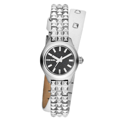 DIESEL MINI DOUBLE WRAP STRAP STAINLESS AND LEATHER WOMENS WATCH DZ5447