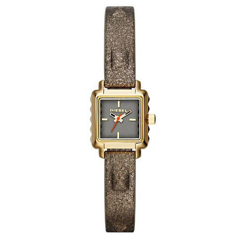 Diesel Ursula Gold-tone with Metallic Leather strap Women Watch DZ5478