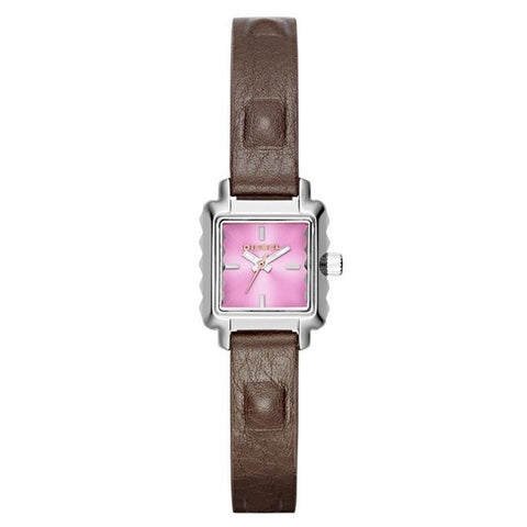 Diesel Watches Women's Ursula Dark Brown Genuine Leather Pink Dial DZ5479