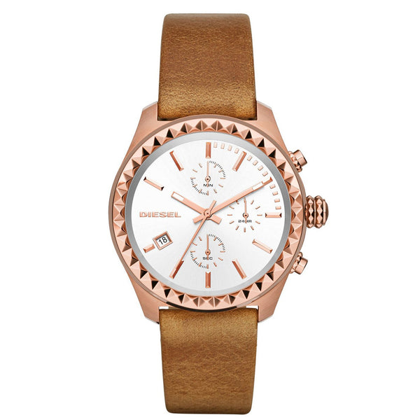 Diesel Kray Kray Series Chronograph brown Leather white Dial Womans Watch DZ5488
