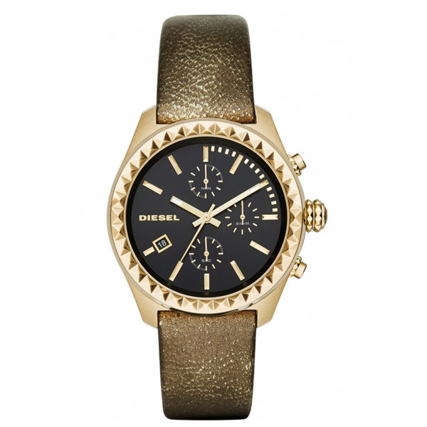 Diesel Kray Kray Series Chronograph Gold-tone Leather Black Dial Womans Watch DZ5489