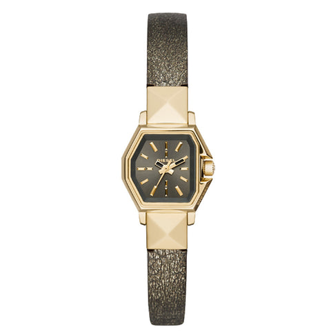 DIESEL Gold Tone Leather Band Ladies Z Back Up Watch DZ5491