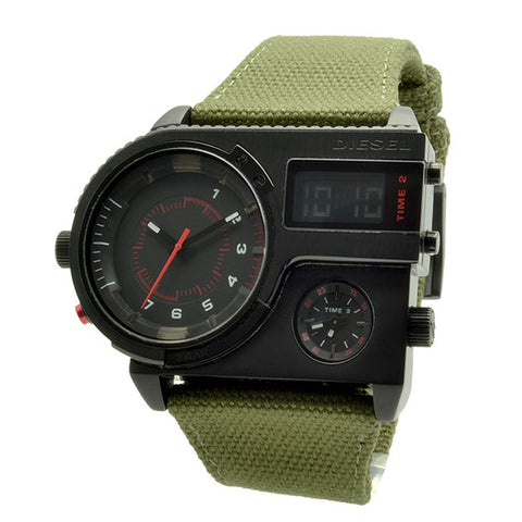 DIESEL Triple time Mens Watch stainless steel army green canvas DZ-DZ7206