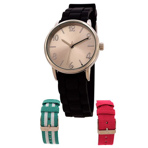 FMD by Fossil Women's Standard 3-Hand Analog Base Metal Silicone Watch FMDX271