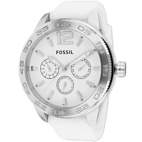 FOSSIL MEN'S BQ1163 CLASSIC CHRONOGRAPH WHITE SILICONE WATCH BQ1163
