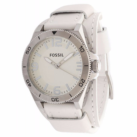 FOSSIL MEN'S BQ1168 CLASSIC ROUND WHITE LEATHER STRAP WATCH BQ1168