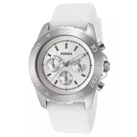 FOSSIL MEN'S WHITE SILICONE STRAP STAILESS STEEL CASE WATCH BQ1179