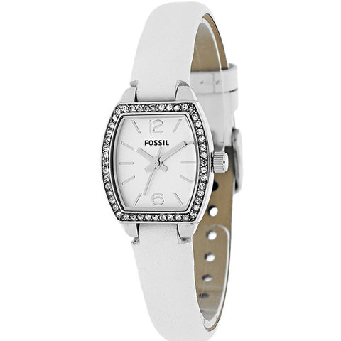 FOSSIL WOMEN'S CLASSIC TONNEAU WHITE LEATHER STRAP STAINLESS STEEL WATCH BQ1211