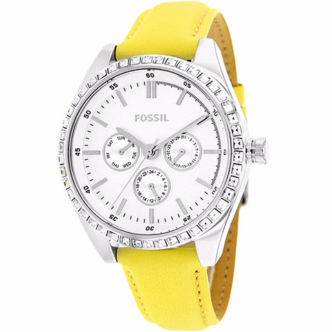FOSSIL WOMEN'S CARISSA SILVER DIAL YELLOW LEATHER STRAP WATCH BQ1440