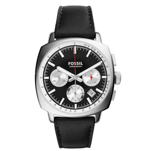 Fossil Black and Silver Dial Chronograph Genuine Leather Mens Watch FS-CH2984