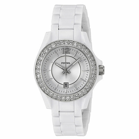 Fossil ES3251 Riley White Dial Crystal White Resin Ladies Watch