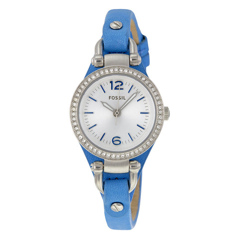 Fossil ES3474 Georgia Mini Silver Dial Blue Leather Strap Ladies Watch
