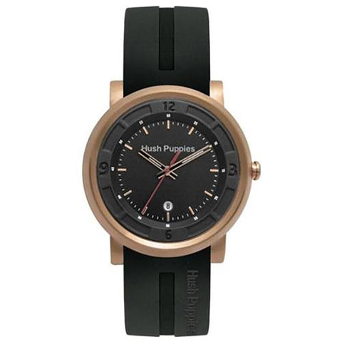 HUSH PUPPIES BLACK RUBBER ROSE GOLD CASE MEN'S  WATCH HP.3542M01.9502