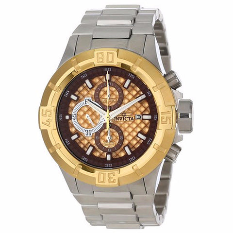 INVICTA MEN'S PRO DIVER CHRONOGRAPH GOLD TEXTURED DIAL STAILESS STEEL WATCH 12371