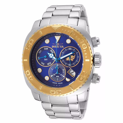 INVICTA MEN'S PRO DIVER ANALOG DISPLAY SWISS QUARTS BLUE DIAL STAILESS STEEL CHRONOGRAPH WATCH 14647