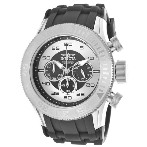 INVICTA Pro Diver XL Chronograph Black and Silver Dial Silicone Strap Men's Watch