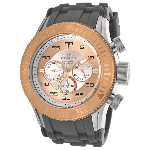 INVICTA Pro Diver XL Chronograph Rose Gold and Silver Dial Silicone Strap Men's Watch
