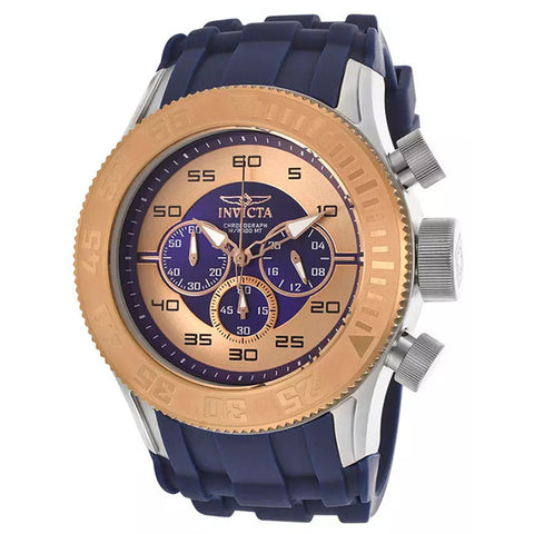 INVICTA Pro Diver XL Chronograph Rose Gold and Blue Dial Silicone Strap Men's Watch