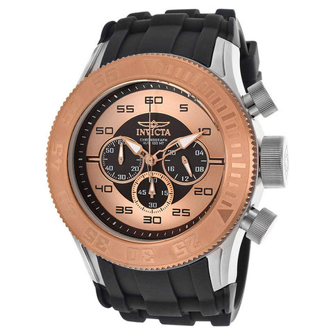 INVICTA Pro Diver XL Chronograph Rose Gold and Black Dial Silicone Strap Men's Watch