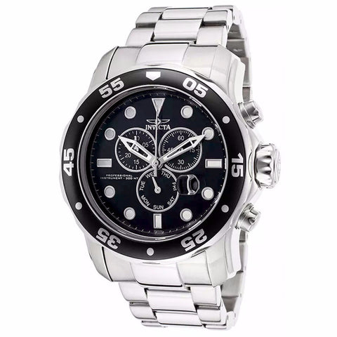 INVICTA MEN'S PRO DIVER ANALOG DISPLAY BLACK DIAL STAINLESS STEEL CHRONOGRAPH WATCH 15081