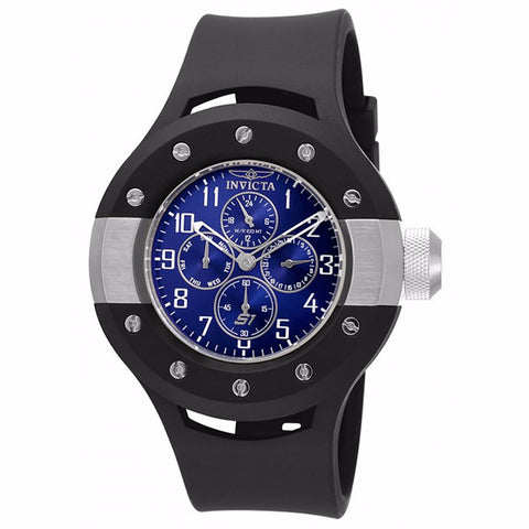 INVICTA MEN'S S1 RALLY BLUE DIAL BLACK SILICONE BAND STAINLESS STEEL CASE ANALOG QUARTZ WATCH 17390