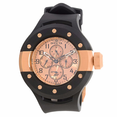 INVICTA MEN'S S1 RALLY ROSE GOLD DIAL BLACK SILICONE BAND STAINLESS STEEL CASE CHRONOGRAPH WATCH 17393