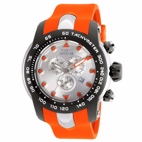 INVICTA MEN'S PRO DIVER CHRONOGRAPH SILVER DIAL ORANGE SILICONE BAND WATCH 17808