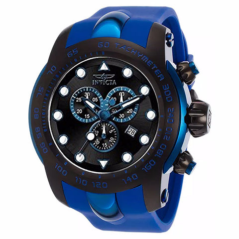 INVICTA MEN'S PRO DIVER CHRONOGRAPH BLACK DIAL BLUE SILICONE BAND WATCH 17810