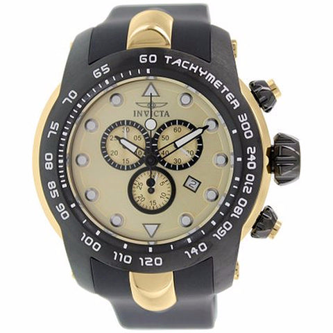 INVICTA MEN'S PRO DIVER CHRONOGRAPH GOLD DIAL BLACK SILICONE BAND WATCH 17811