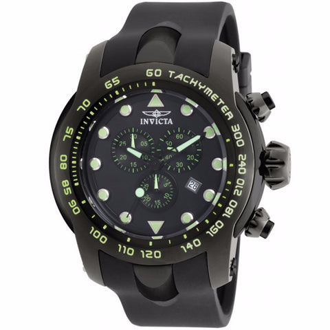 INVICTA MEN'S PRO DIVER CHRONOGRAPH BLACK DIAL BLACK SILICONE BAND WATCH 17812