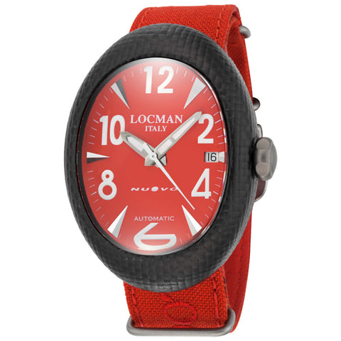 Locman Nuovo Carbonio Automatic Red Dial Red Cordura Fabric Men's Watch