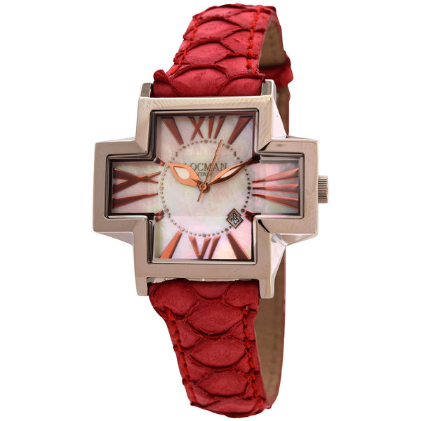 New Ladies Exotic Locman Red Plus Cross Unique Case Roman Numerics Watch