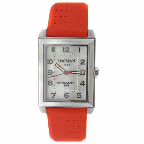 Locman Stealth R white Dial Red Rubber Men's Watch