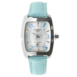 Women's Locman Titanium Case Light Blue Leather Silver Tone Date Watch - BrandNamesWatch.com