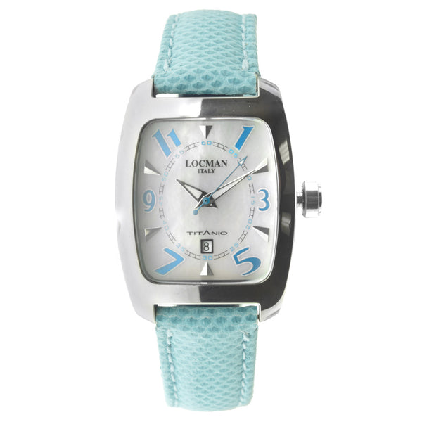 Women's Locman Titanium Case Light Blue Leather Silver Tone Date Watch