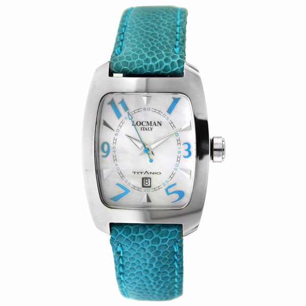 Women's Locman Titanio Case Blue Leather Silver Tone Date Watch
