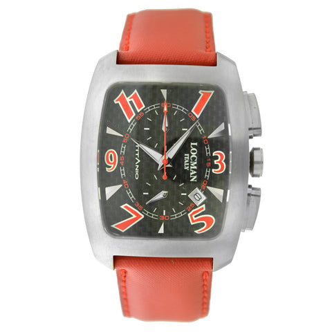 Locman Titanio Tonneau Chronograph Black Carbon Fiber Dial Red Leather Strap Men's Watch