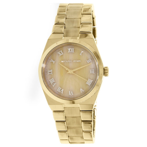 MICHAEL KORS WOMANS CHANNING HORN GOLD TONE STAINLESS STEEL WOMEN'S WATCH MK6152
