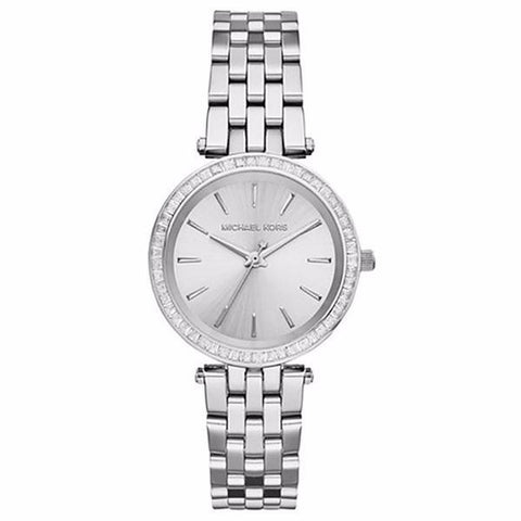 MICHAEL KORS SILVER-TONE DARCI CRISTAL BEZEL WOMANS WATCH MK3364