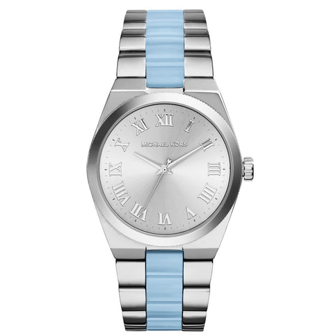 MICHAEL KORS Channing Silver Dial Stainless Steel and Chambray Acetate Ladies Watch MK-MK6150