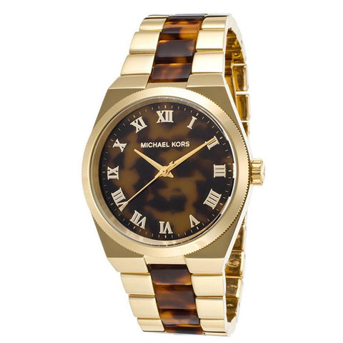 MICHAEL KORS Channing Tortoise-Shell Dial Tortoise-Shell and Acetate Gold-tone Ladies Watch MK-MK6151