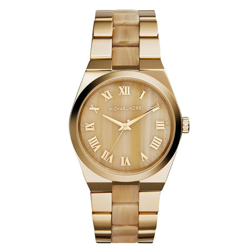 MICHAEL KORS Channing Horn Brown- Gold Dial Quartz Ladies Watch MK-MK6152
