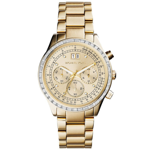 MICHAEL KORS Brinkley Chronograph Gold Dial Gold-tone Ladies Watch MK-MK6187