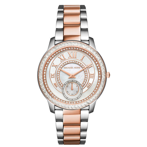 MICHAEL KORS Madelyn Mother of Pearl Dial Two Tone Stainless Steel Ladies Watch MK-MK6288