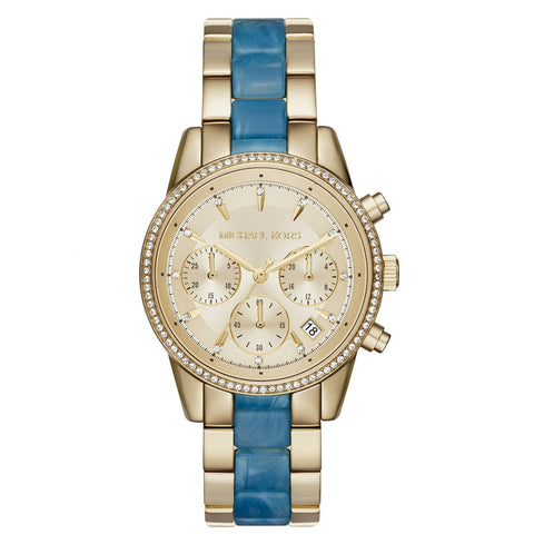 MICHAEL KORS Ritz Quartz Gold-tone Chronograph Dial Gold-tone Stainless Steel Ladies Watch MK-MK6328