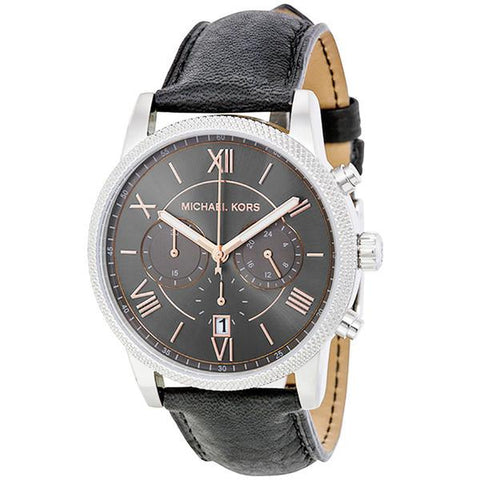 MICHAEL KORS HAWTHORNE BLACK DIAL BLACK LEATHER STRAP MENS WATCH MK8393