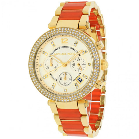 MICHAEL KORS GOLD-TONE ORANGE PARKER WOMANS WATCH MK6139