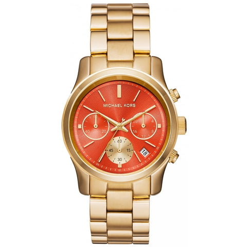MICHAEL KORS WOMENS RUNWAY ROUND ORANGE DIAL GOLD-TONE BRACELET WATCH MK6162